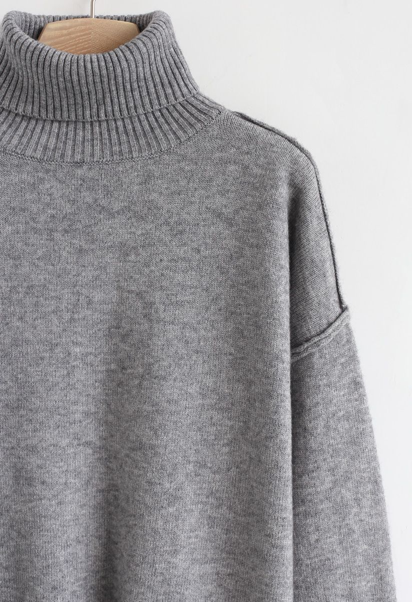 Soft Touch Basic Cowl Neck Knit Sweater in Grey