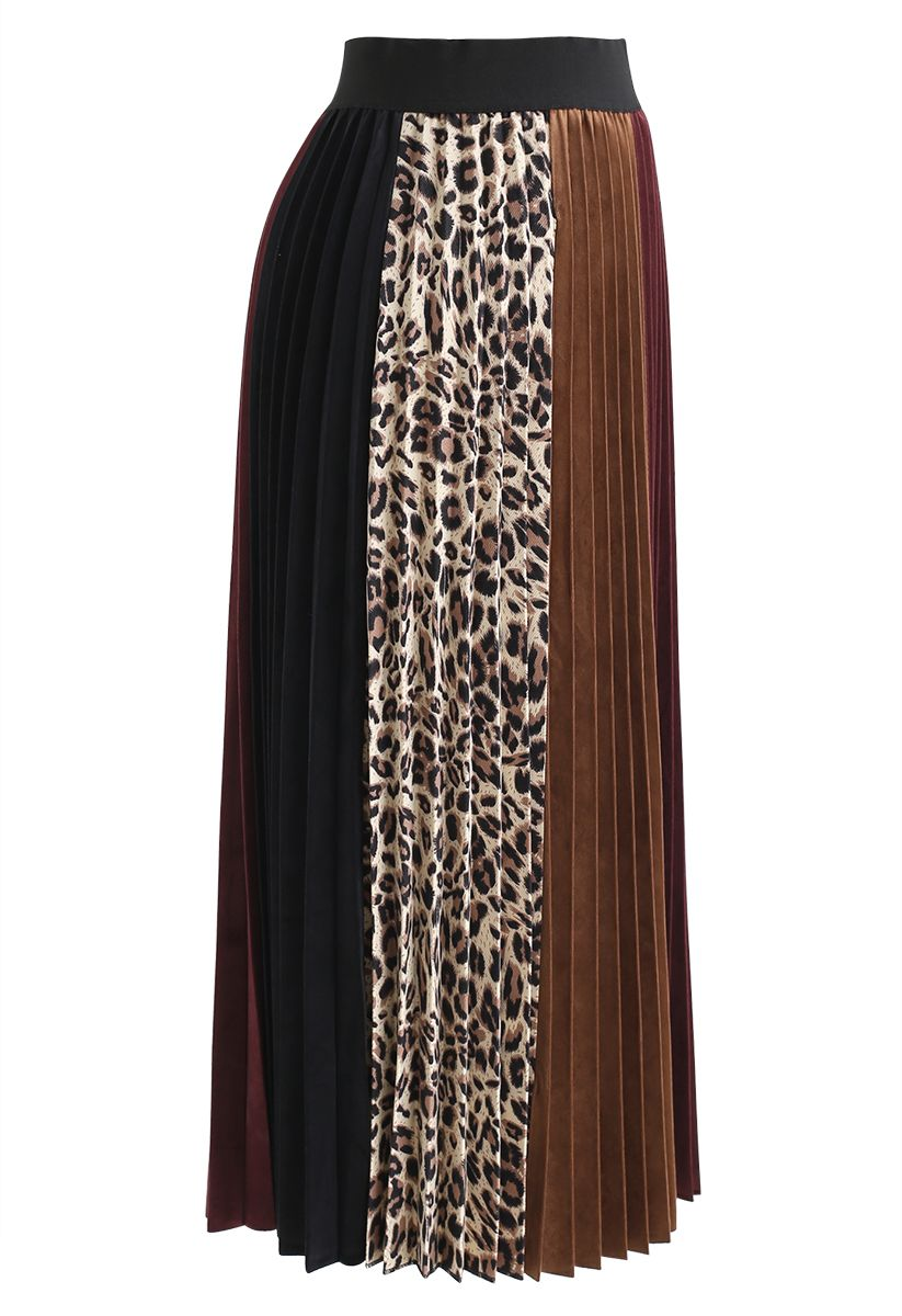 Leopard Detail Pleated Velvet Midi Skirt