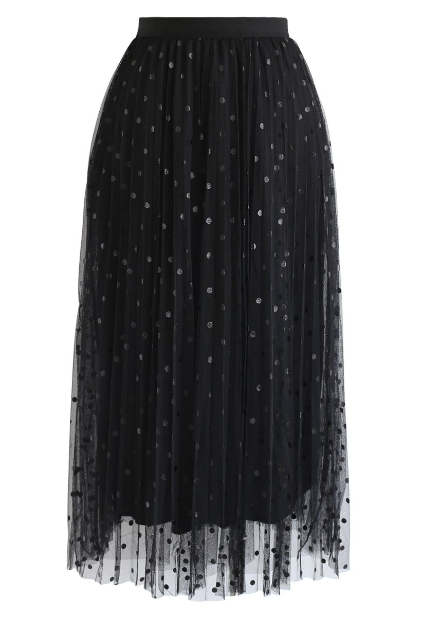 Polka Dot Double-Layered Mesh Tulle Skirt in Black