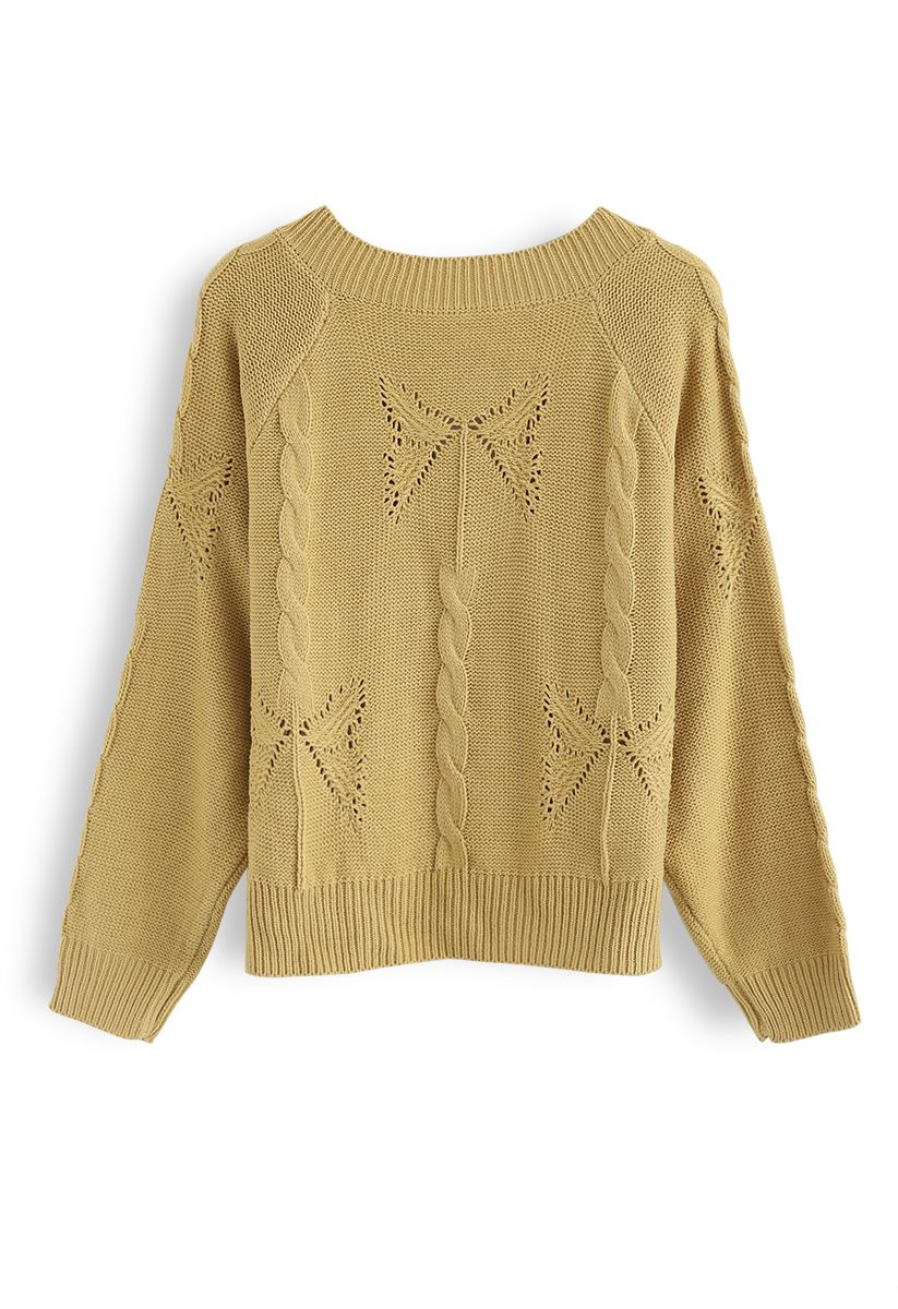 V-Neck Pom-Pom Cable Knit Sweater in Mustard