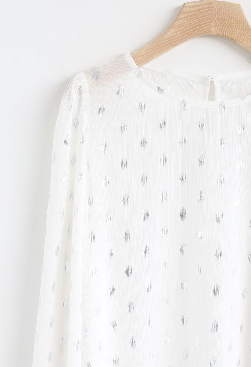 Oval Dots Print Semi-Sheer Top in White