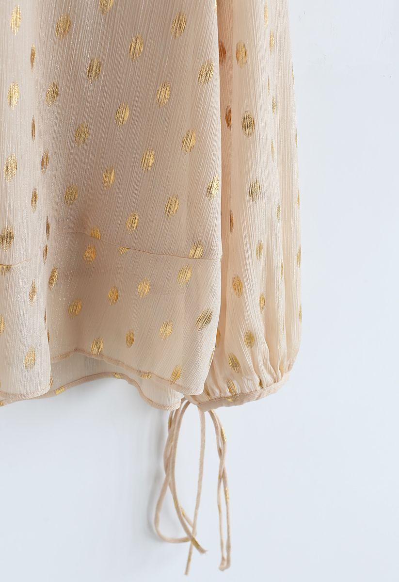 Oval Dots Print Semi-Sheer Top in Cream