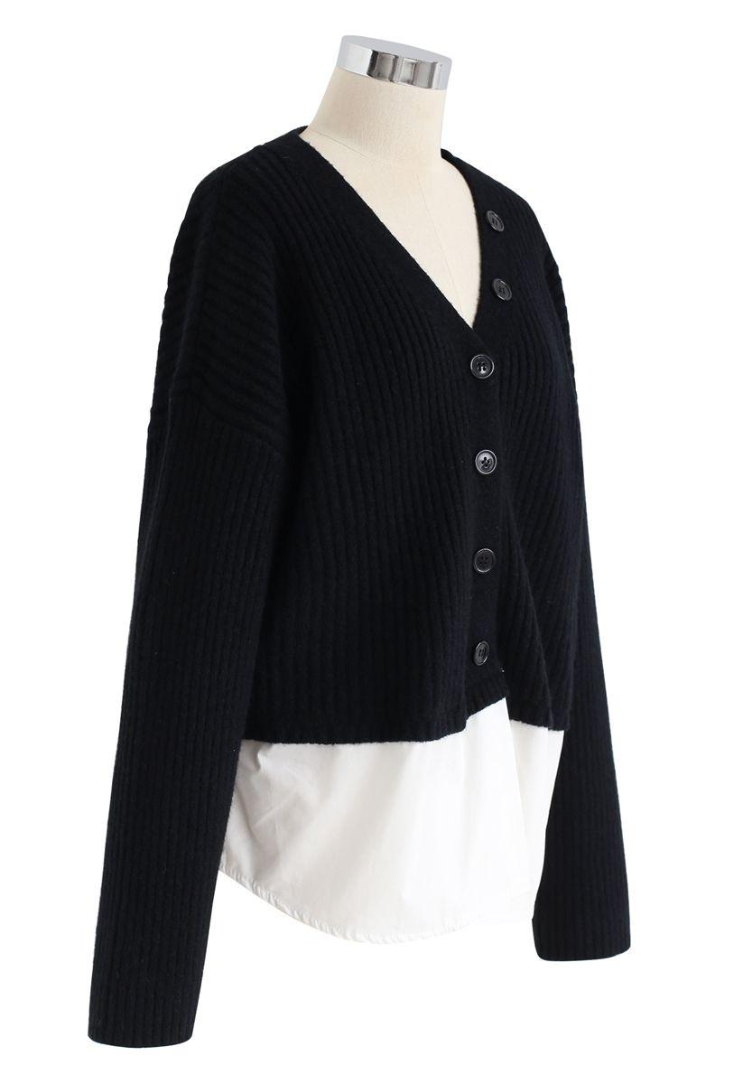 V-Neck Ribbed Spliced Knit Cardigan in Black
