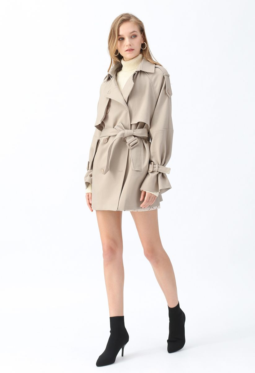 Double-Breasted Belted Pockets Coat in Sand