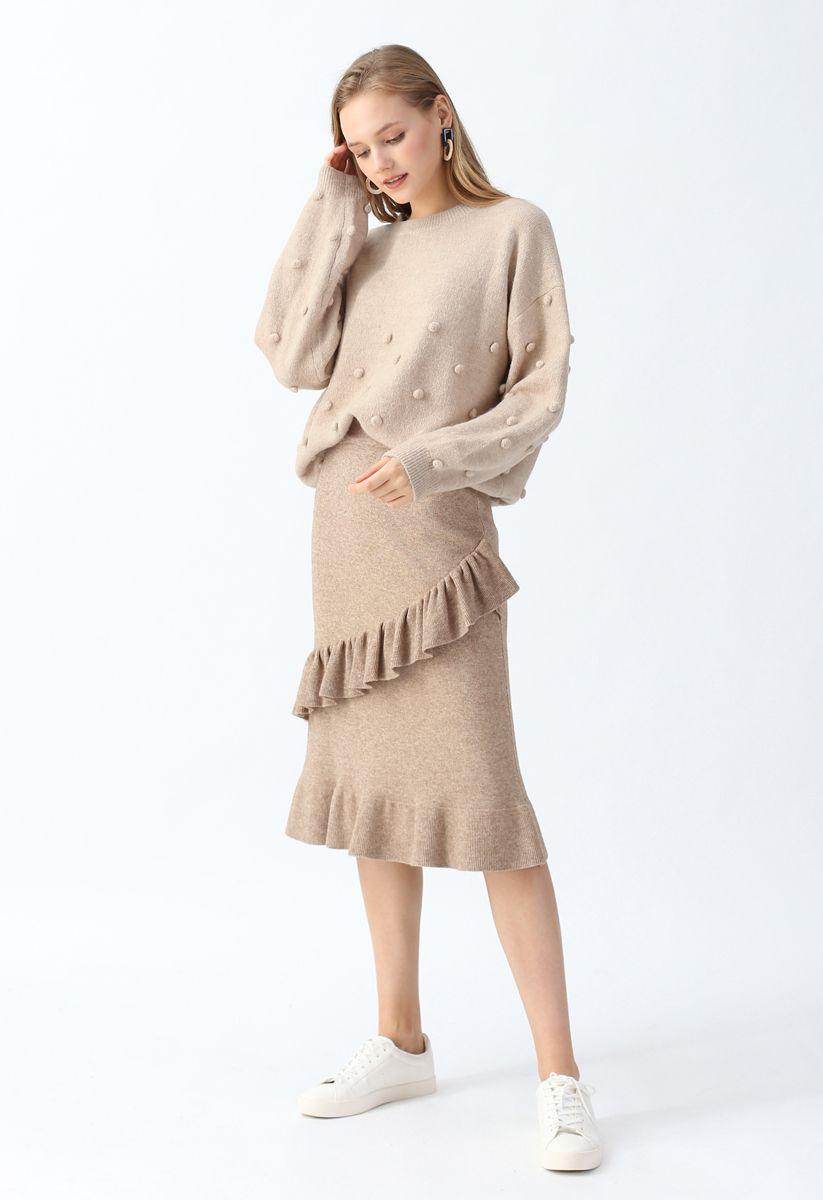 Pom-Pom Trim Fluffy Knit Sweater in Tan