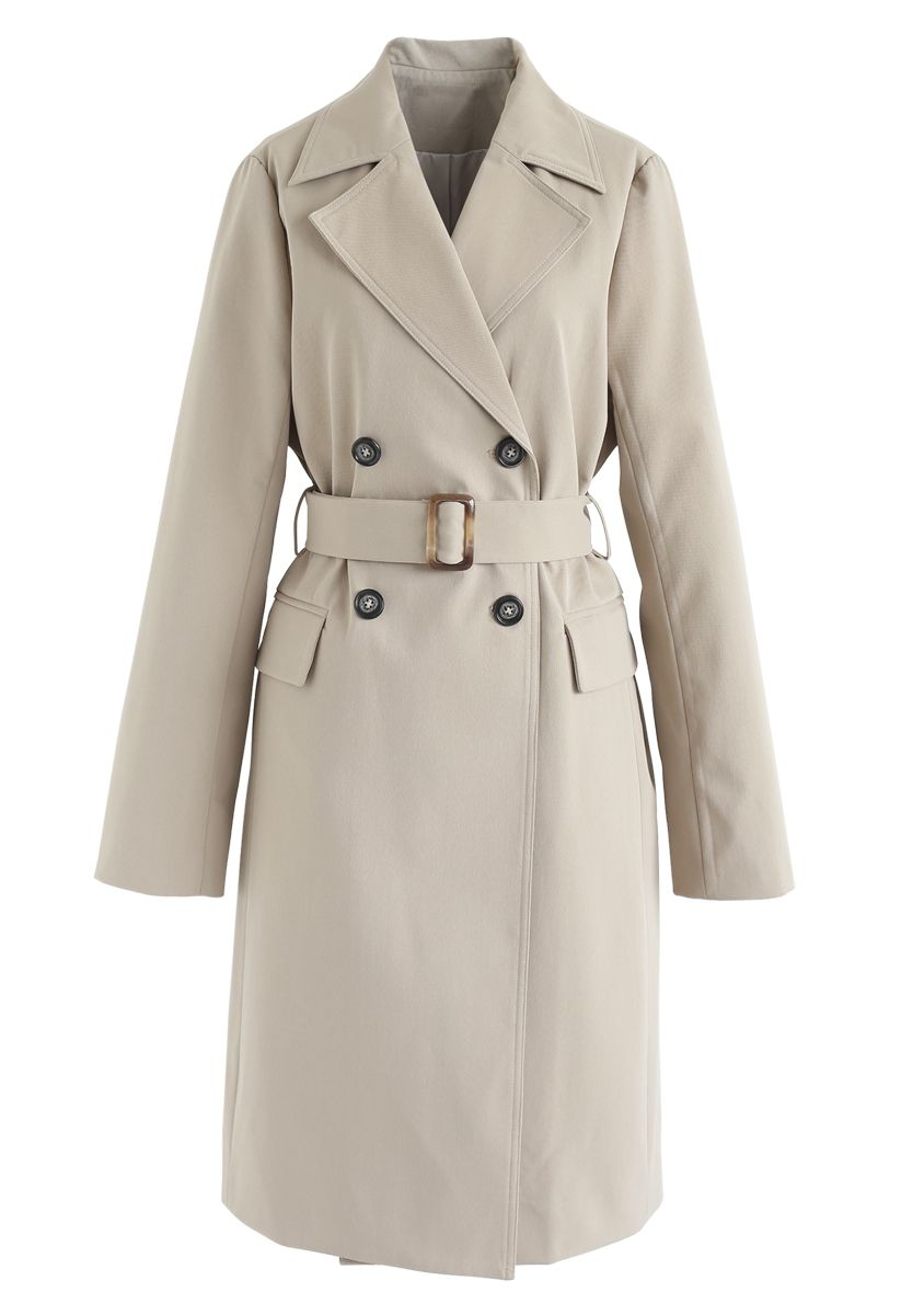 Texture Belted Double-Breasted Coat in Tan