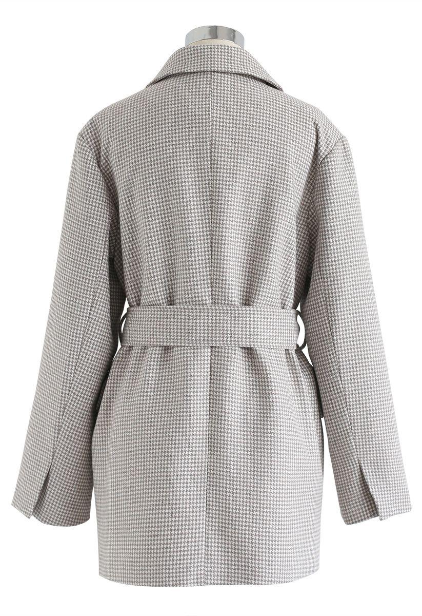 Houndstooth Pattern Buttoned Belt Blazer