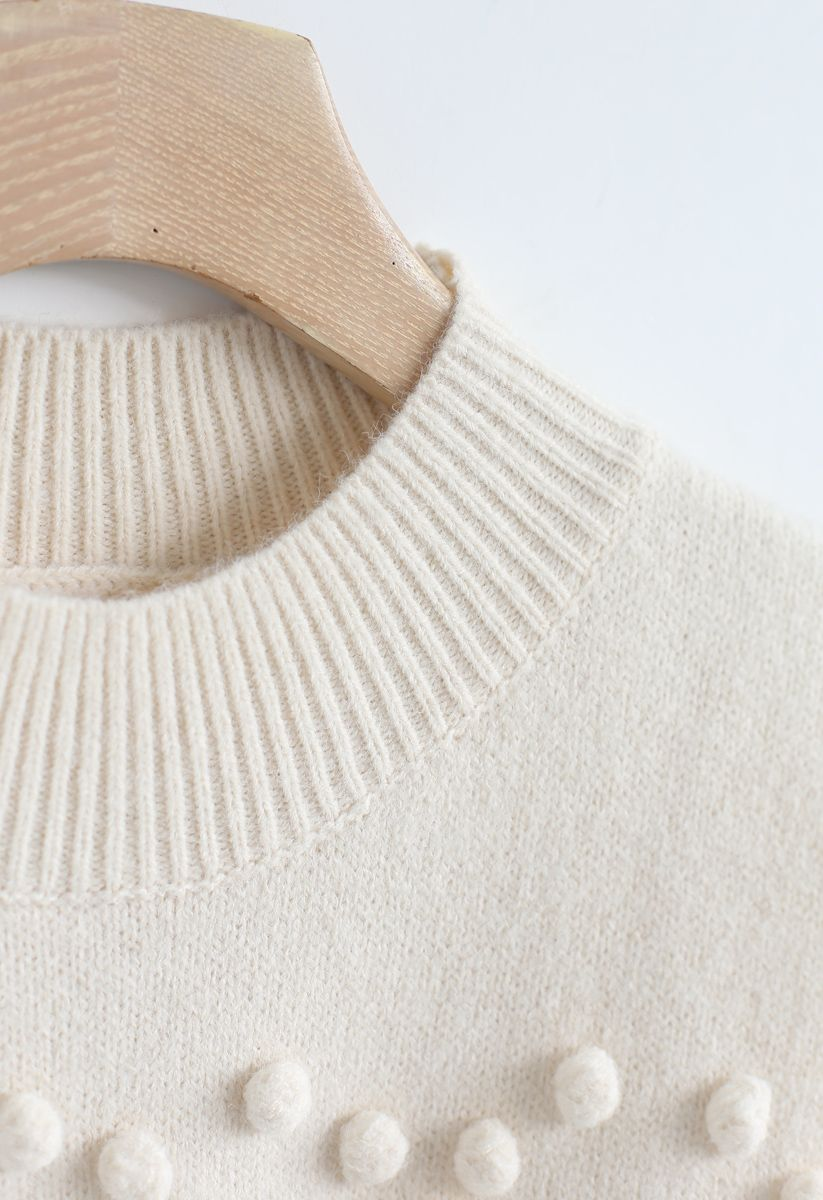 Pom-Pom Heart Knit Sweater in Cream