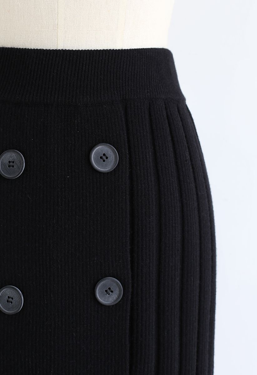 Button Ribbed Knit Pencil Skirt in Black