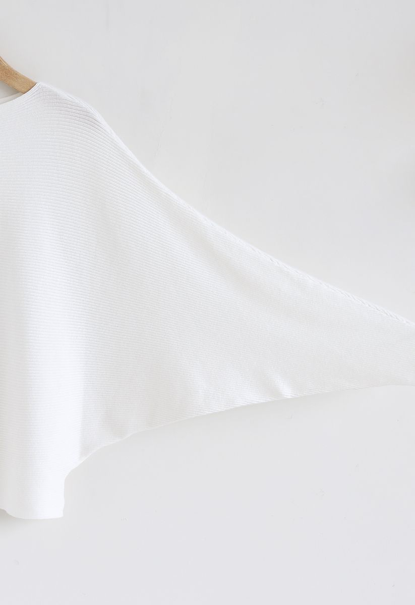 Boat Neck Batwing Sleeves Crop Knit Top in White