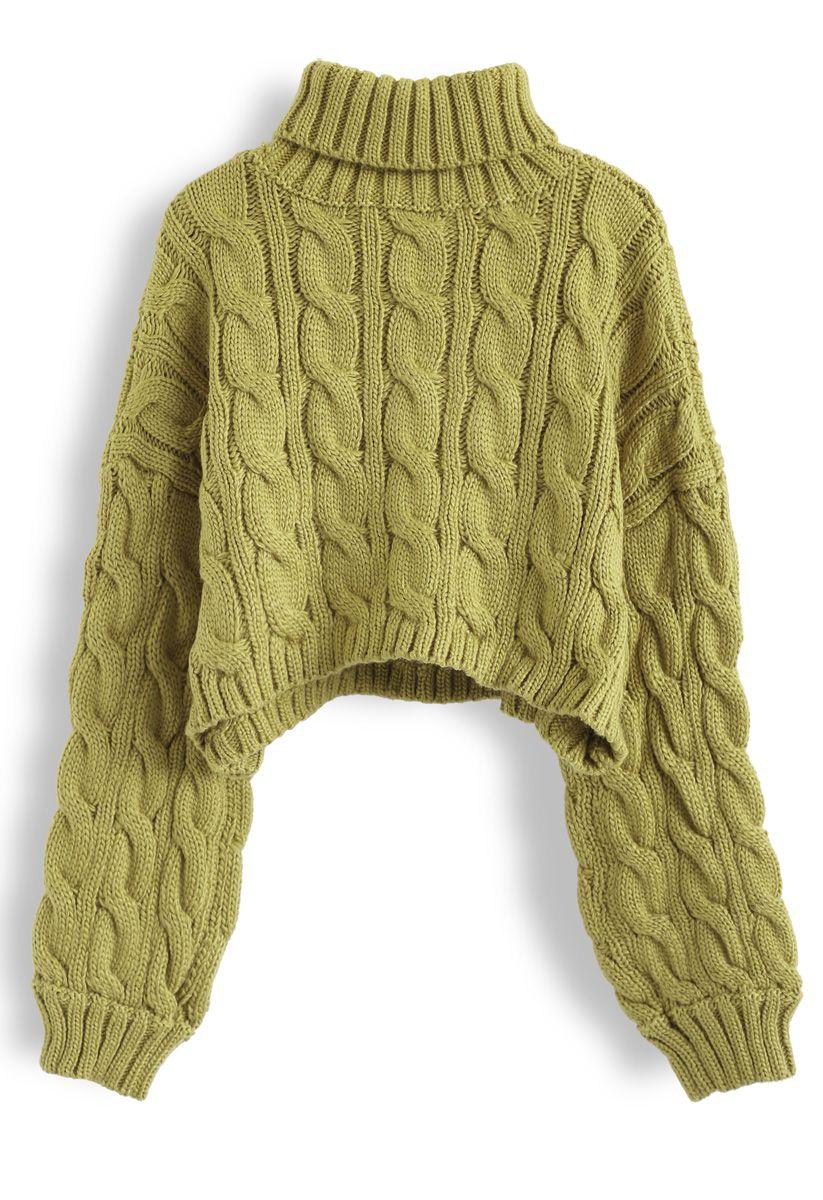 Turtleneck Braid Knit Crop Sweater in Moss Green