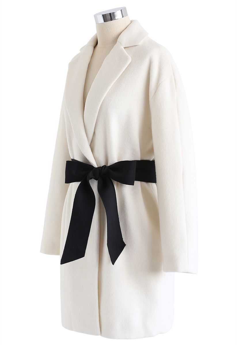 Bowknot Wool-Blended Blazer in Ivory