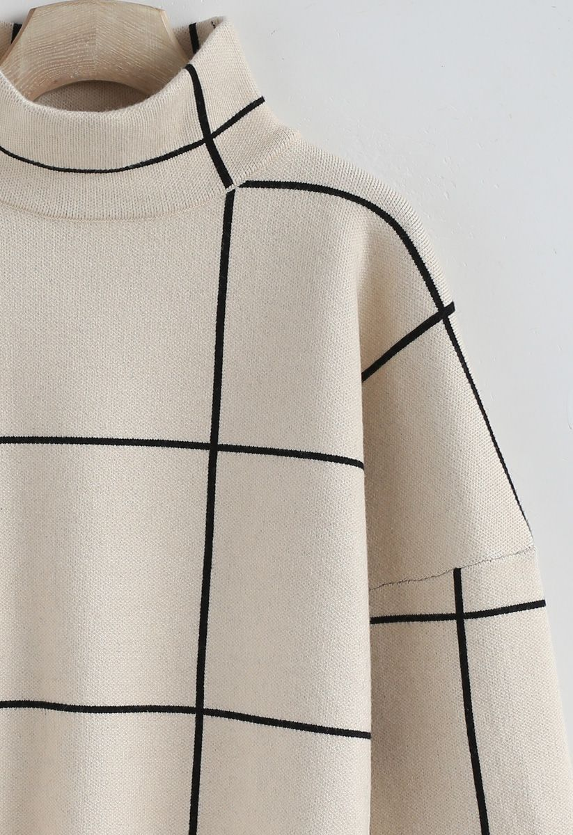 Grid Turtleneck Sweater