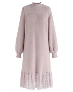 Lace Hem Fluffy Knit Shift Dress in Pink