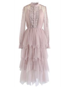 Lacy Sleeves Tiered Mesh Dress in Pink