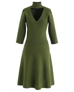 V-Shape Cutout Ribbed Knit Midi Dress in Olive
