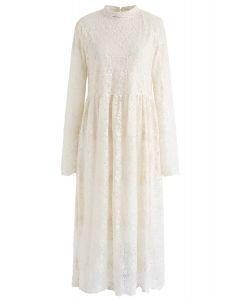 Floret Embroidered Lacy Midi Dress in Cream