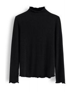 Mock Neck Wavy Knit Top in Black
