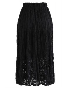 Full Lace Midi Skirt in Black