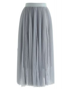 Exquisite Mesh Lace Pleated Midi Skirt in Dusty Blue
