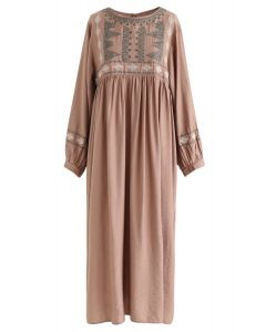 Embroidered Sleeves Boho Midi Dress in Tan