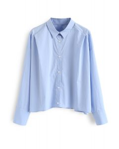 Button Down Sleeves Cropped Shirt in Blue