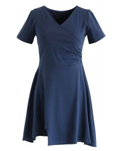 Wrapped Skater Dress in Dusty Blue
