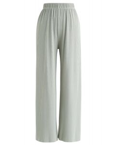High-Waisted Ribbed Pants in Mint