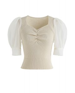 Ruched Bubble Sleeves Cropped Knit Top in Sand