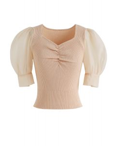 Ruched Bubble Sleeves Cropped Knit Top in Peach
