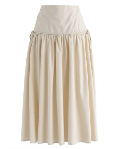 High-Waisted A-Line Midi Skirt in Sand