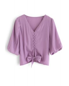 Sweet and Sound Bowknot Crop Top in Purple