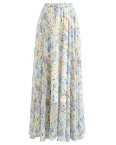 Abstract Watercolor Chiffon Maxi Skirt