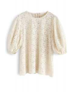 Full Flowers Embroidered Eyelet Puff Sleeves Top in Cream