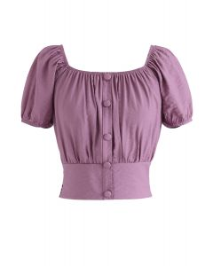 Square Neck Buttoned Front Cropped Top in Purple