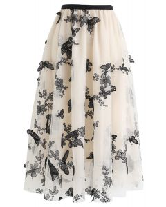 3D Butterfly Double-Layered Mesh Midi Skirt in Cream