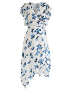 Dyeing Flower Pattern Ruffle Asymmetric Wrap Dress