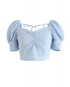 Shirred Back Sweetheart Neck Crop Top in Baby Blue