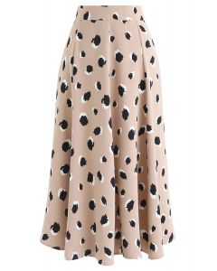 Bicolor Irregular Spots Print Midi Skirt in Tan