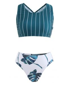 Stripe Print Crisscross Back Tropical Leaf  Bikini Set