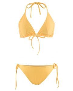 Self-Tied String Halter Bikini Set in Yellow
