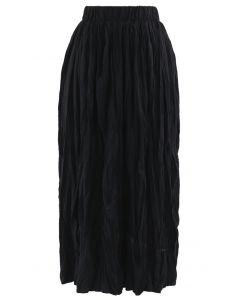 Black Velvet Pleated A-Line Midi Skirt in Black