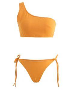One-Shoulder Tie Side Low Rise Bikini Set in Mustard