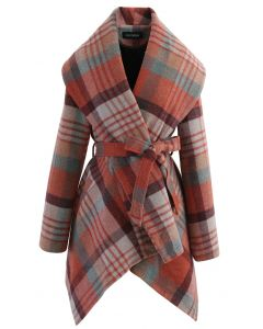 Plaid Pattern Rabato Coat in Coral