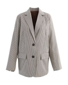 Houndstooth Pattern Split Cuffs Blazer