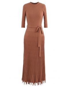 Mock Neck Fringed Hem Ribbed Knit Midi Dress in Caramel