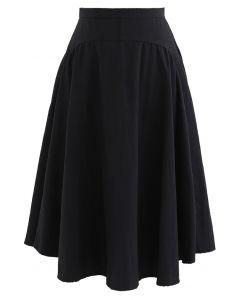 A-Line Asymmetric Flare Hem Midi Skirt in Black
