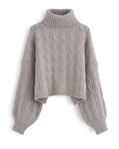 Turtleneck Braid Knit Crop Sweater in Taupe