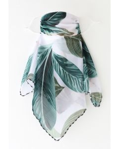 Palm Leaf Print Chiffon Sun Protection For The Face
