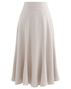 Satin A-Line Midi Skirt in Sand